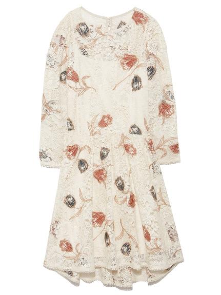 花朵蕾絲刺繡A字洋裝