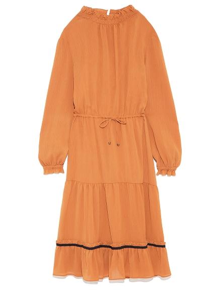 純色摺邊立領洋裝