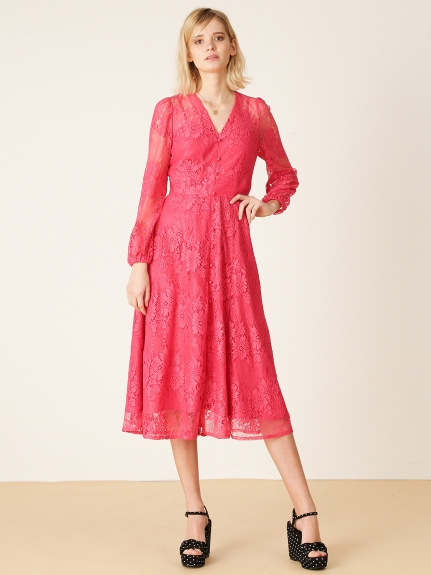 甜美復古蕾絲長版洋裝