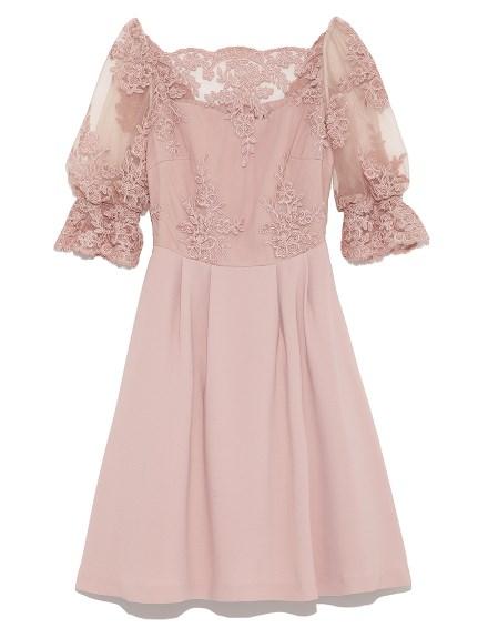 一字領蕾絲造型洋裝