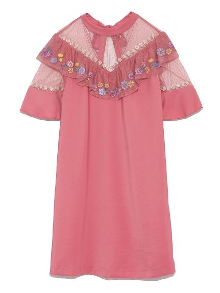 復古花卉刺繡蕾絲洋裝