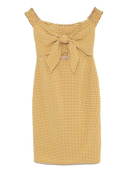 綁結造型一字領格紋洋裝