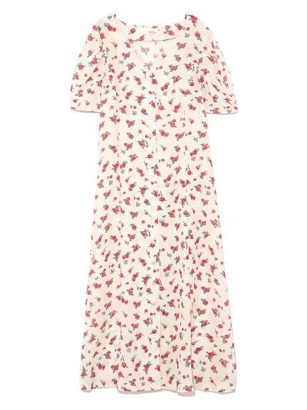 復古玫瑰罩衫式洋裝