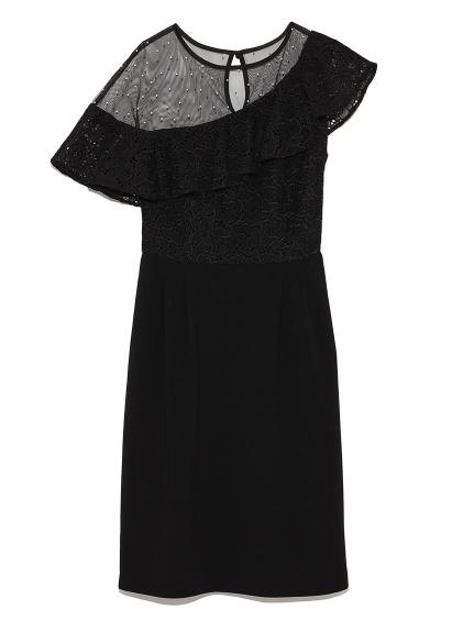斜肩花邊拼接洋裝