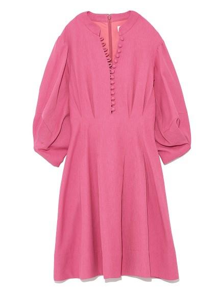 純色蓬袖棉質洋裝