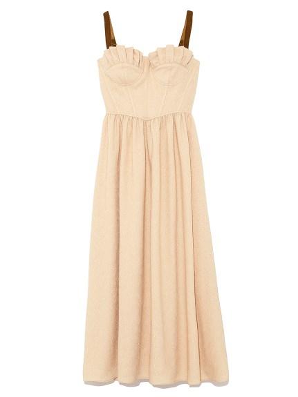 甜美金蔥抹胸吊帶洋裝