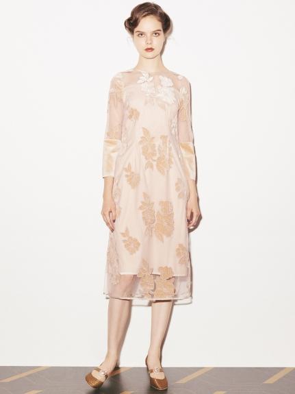 絲絨刺繡連身裙