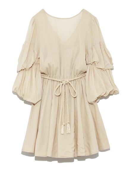 捲袖綁帶連身裙