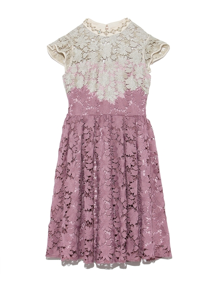 [L.B CANDY STOCK]配色蕾絲雕花洋裝