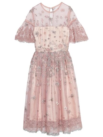 花朵刺繡薄紗洋裝