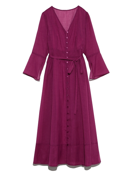 透膚排釦綁帶洋裝