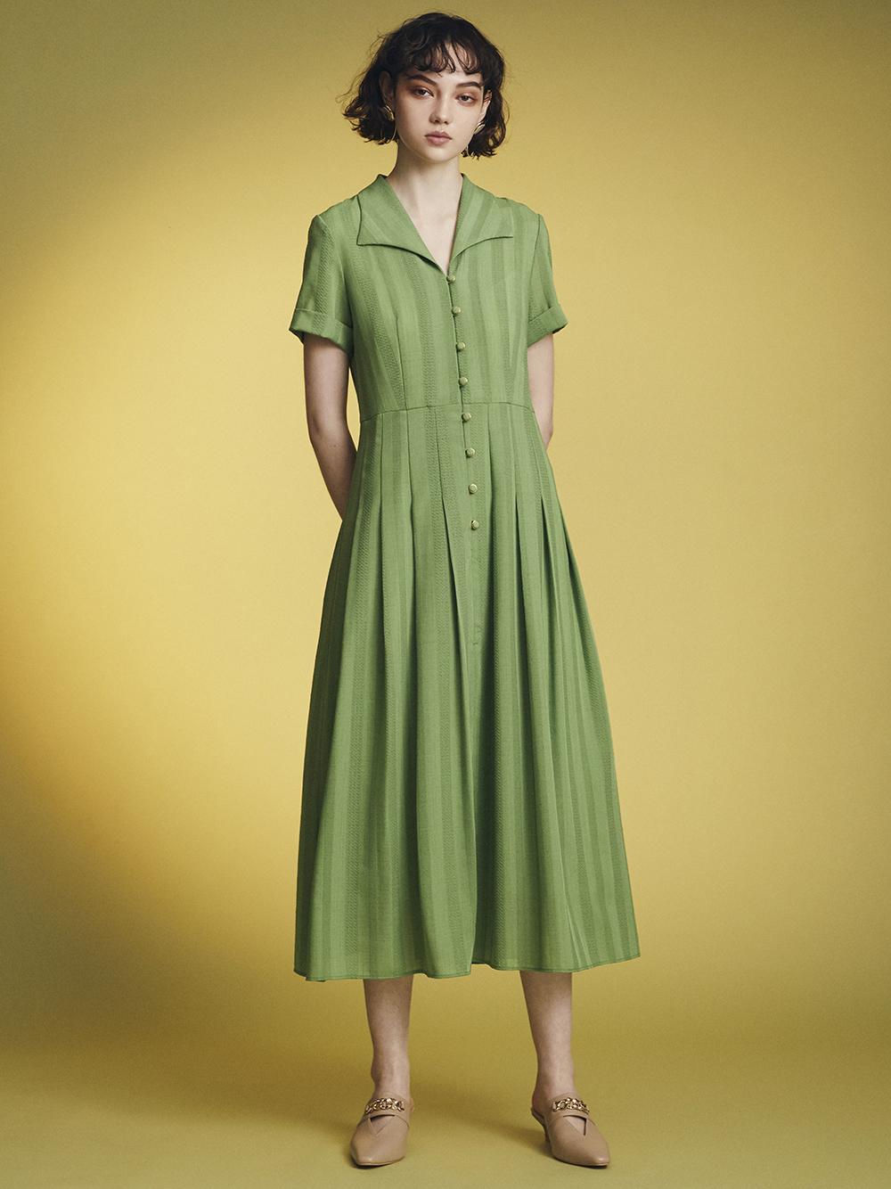 直條襯衫造型連身裙