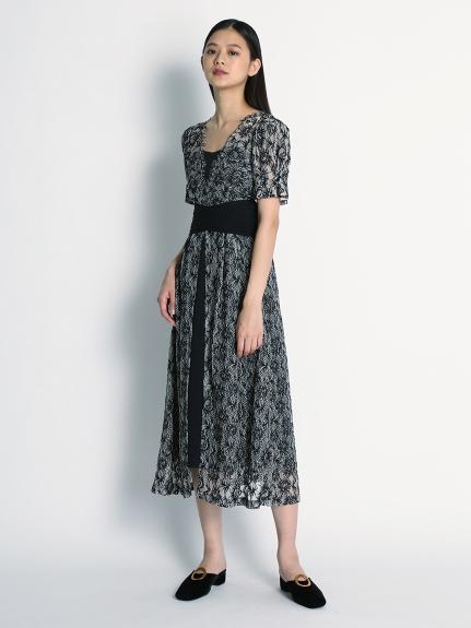 收腰金蔥蕾絲連身裙
