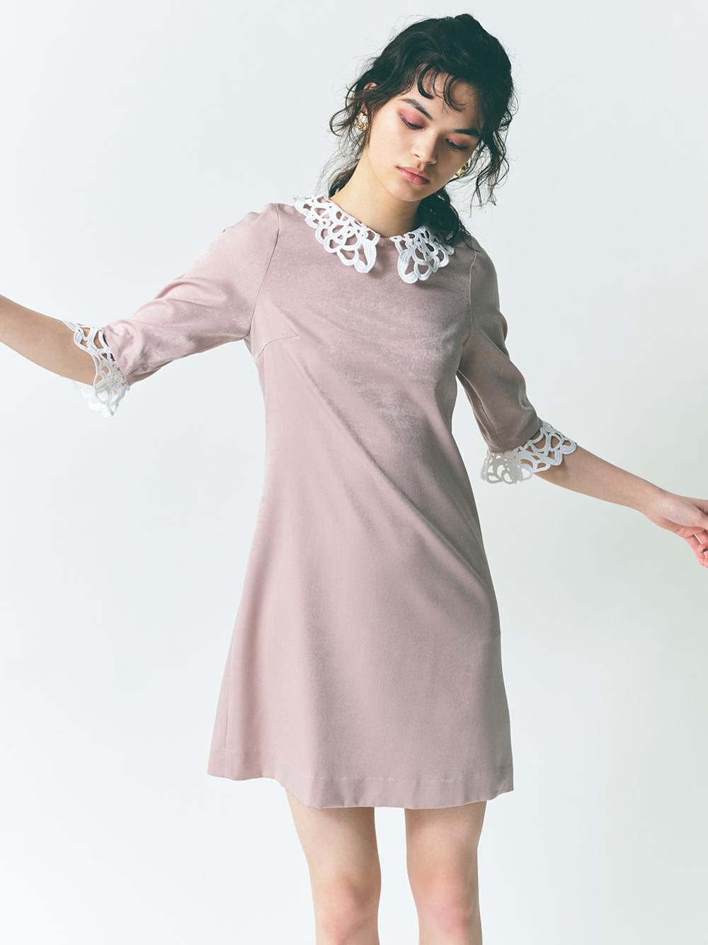 蕾絲配色短洋裝