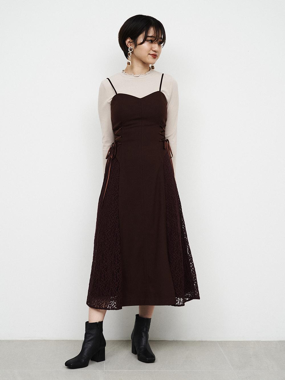 蕾絲拼接細肩帶連身裙組合