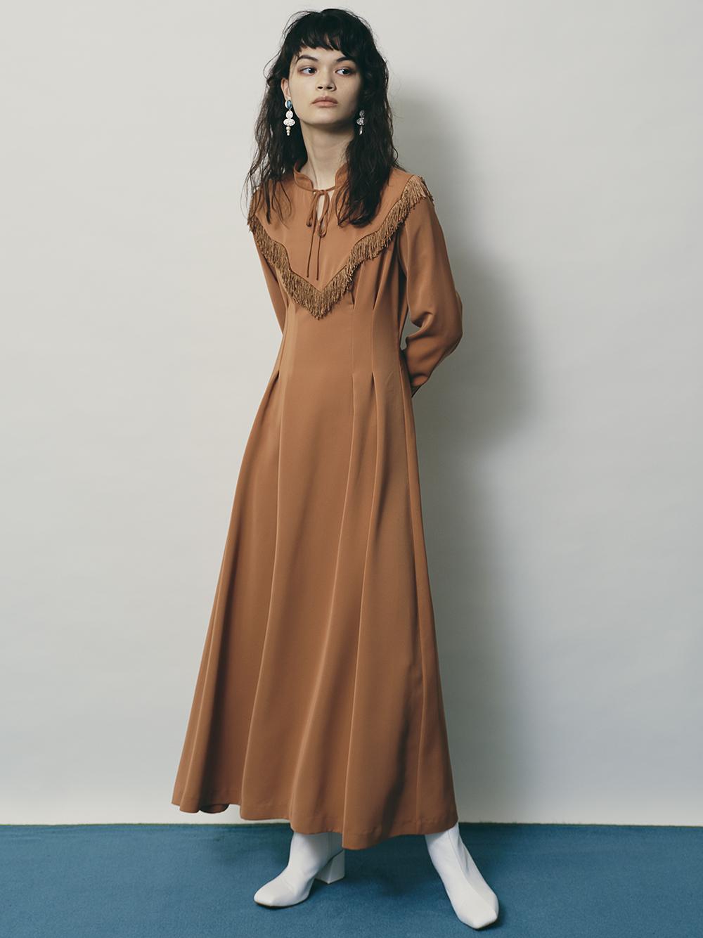 西部風襯衫長版連身裙