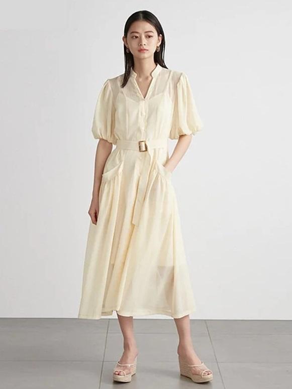 澎袖透膚連身裙