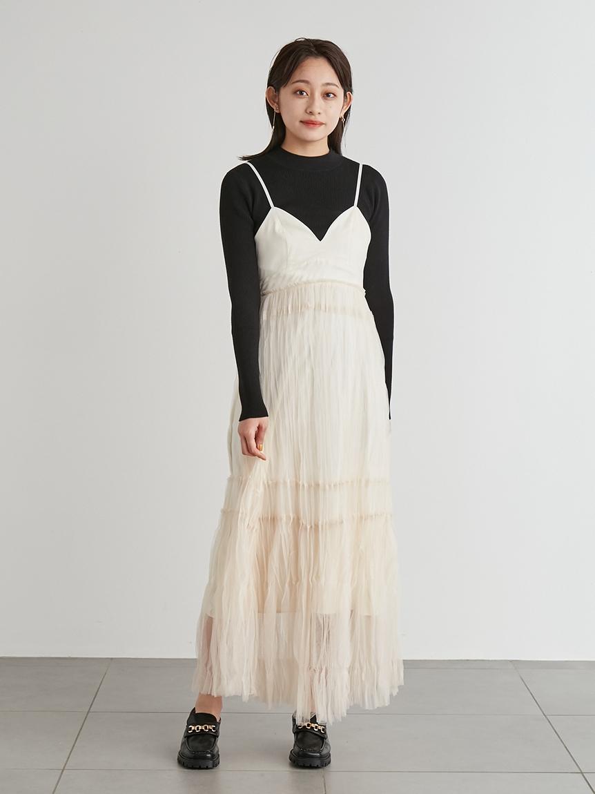 抓皺加工雪紡細肩帶連身裙