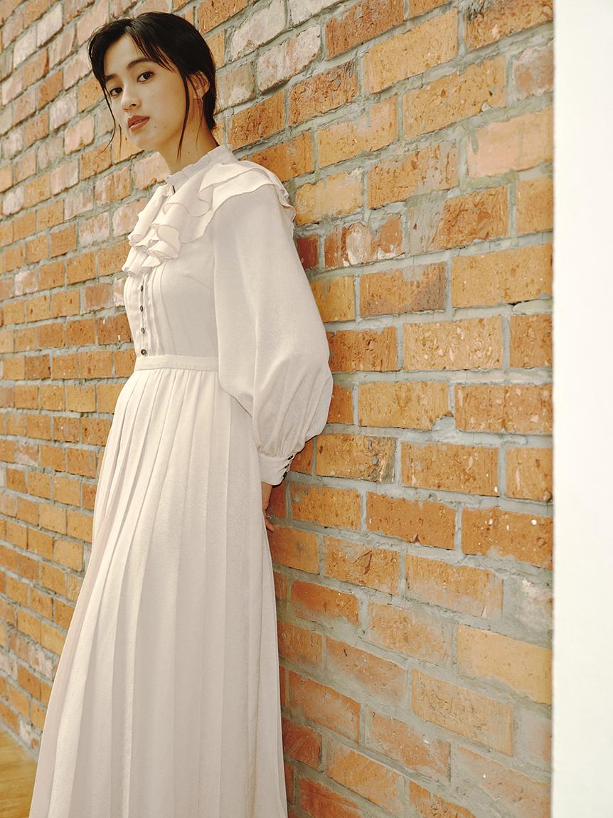 雙層荷葉領百褶連身裙