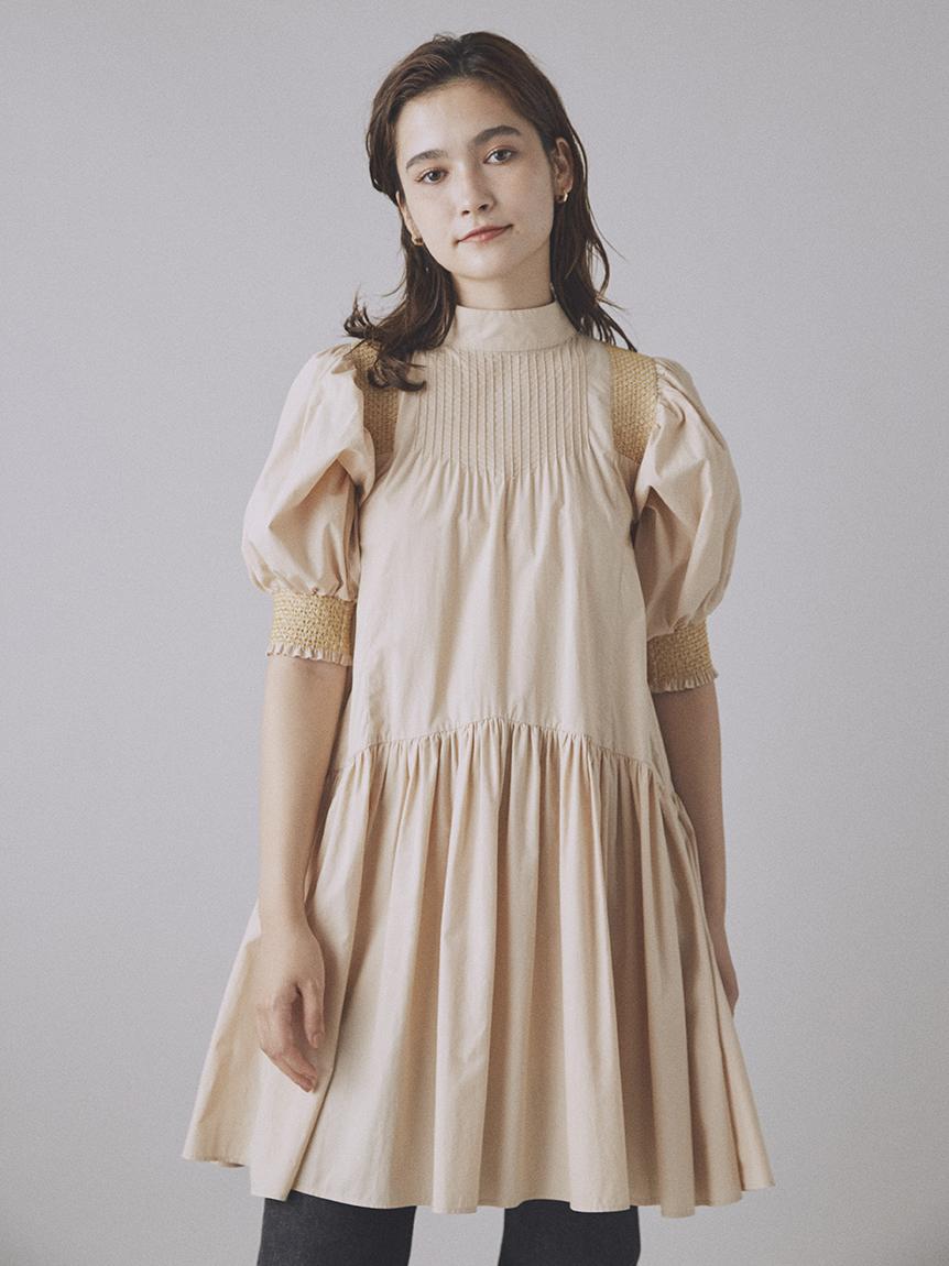 縮褶繡短版連身裙