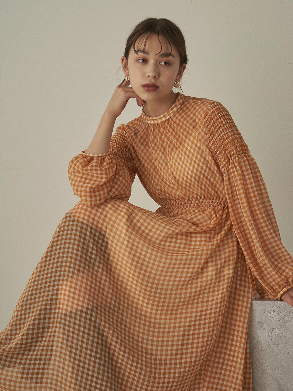 小格紋透膚連身裙