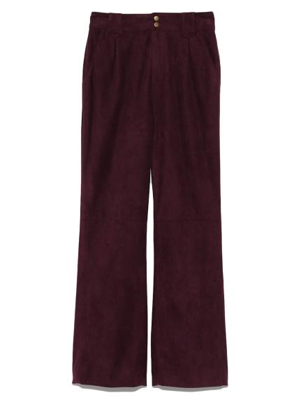 軟皮革緞帶造型褲