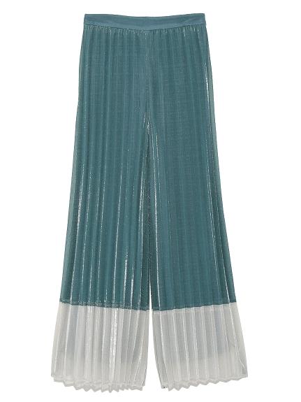 光澤感造型百摺寬褲