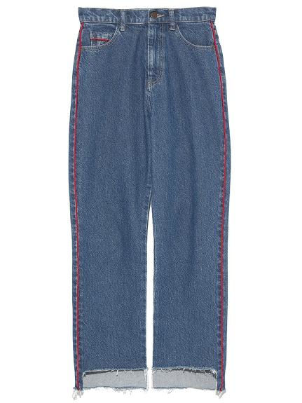 側線條造型不修邊牛仔褲