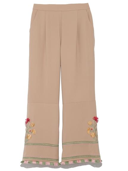 復古刺繡長褲