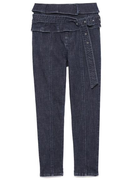 個性腰封窄管牛仔褲