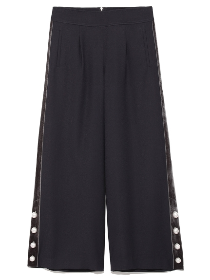 絲絨側珍珠造型寬褲