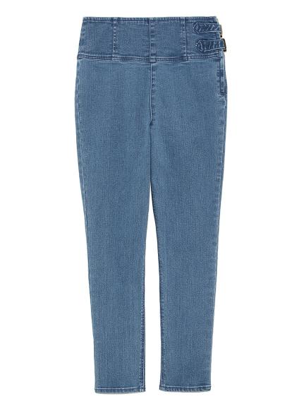 側繫帶造型剪裁牛仔褲