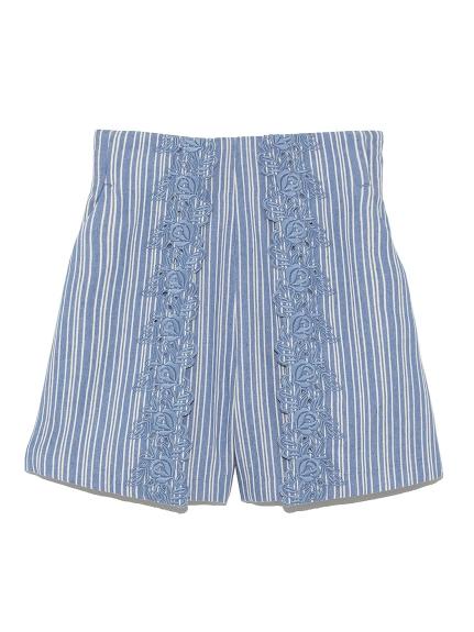 棉質花朵刺繡短褲
