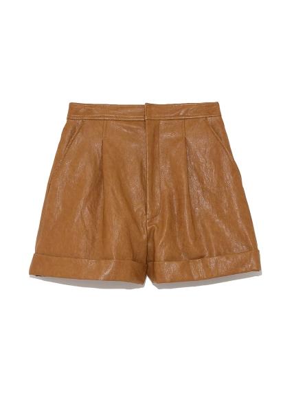 皮革質感短褲