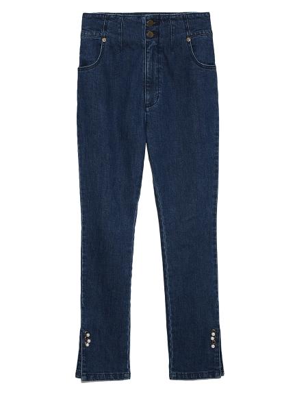 珍珠飾釦緊身牛仔褲
