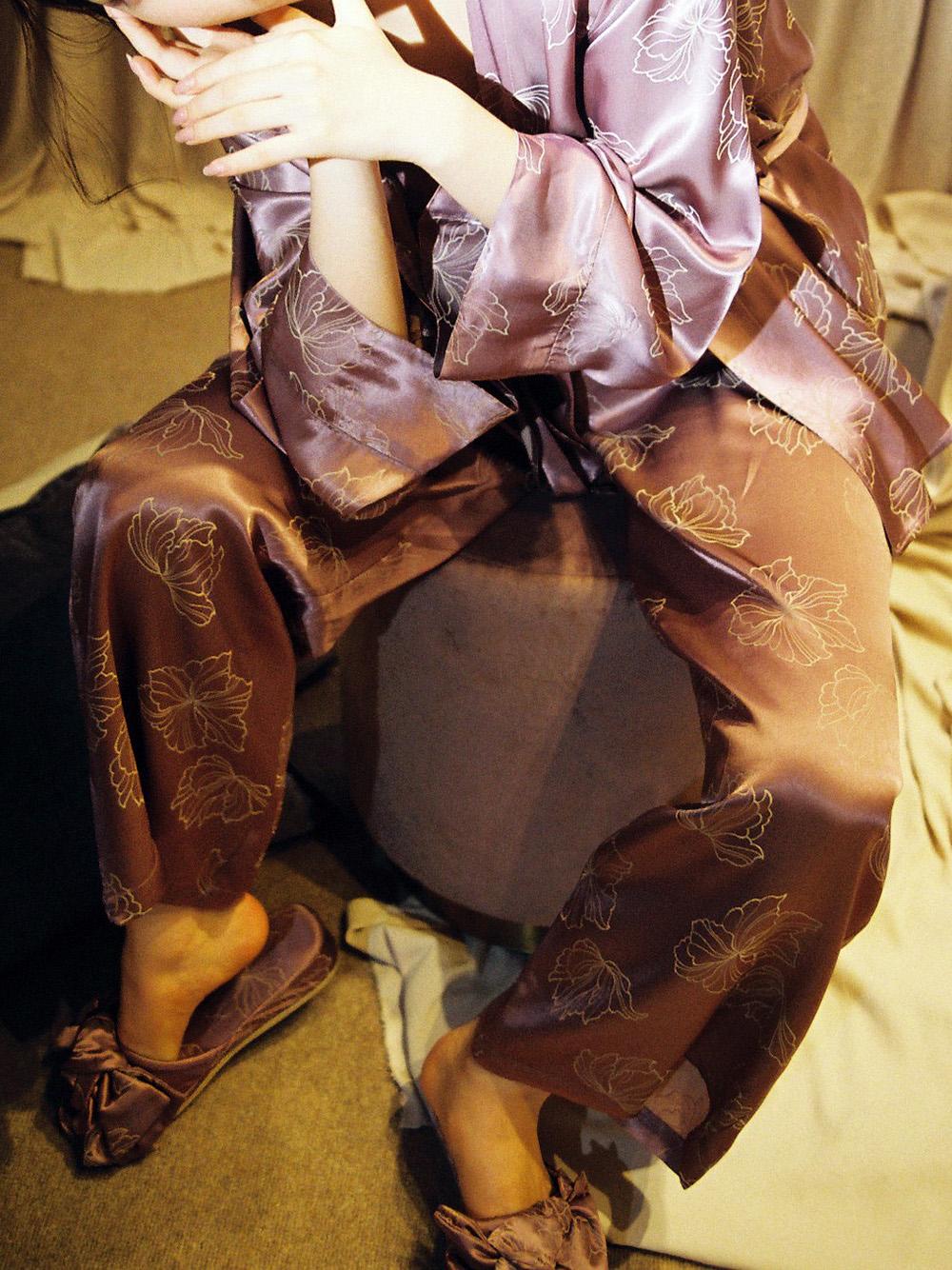 家居放鬆感緞面長褲