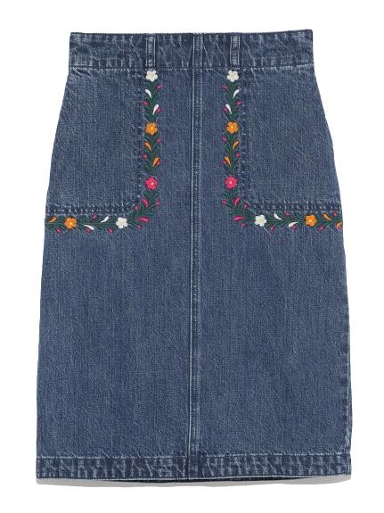 墨西哥刺繡丹寧及膝裙