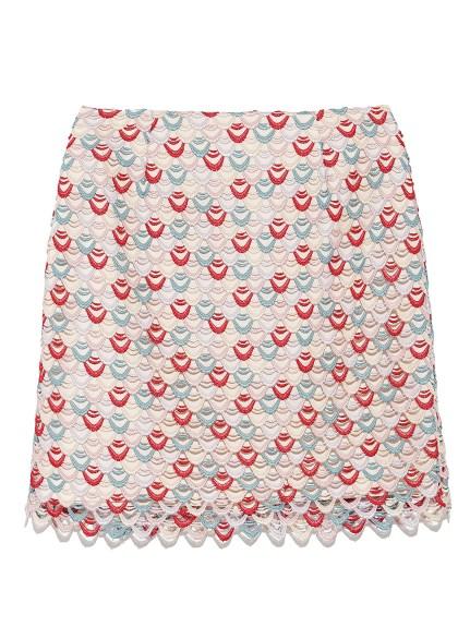 多彩波紋滾邊短裙
