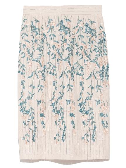 花卉孔眼刺繡窄裙