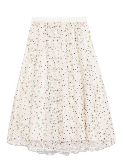 碎花刺繡及膝裙