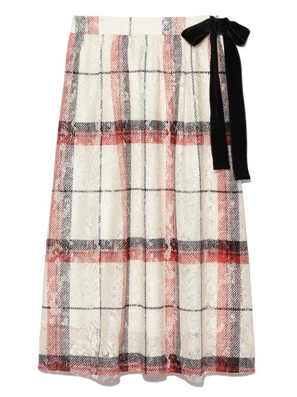 優雅格紋蕾絲一片裙