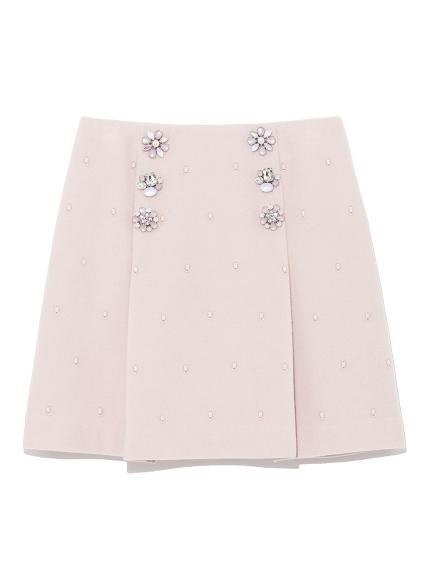[L.B CANDY STOCK]寶石鈕扣短裙