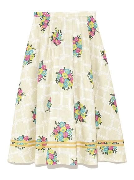 格子花卉荷葉中長裙