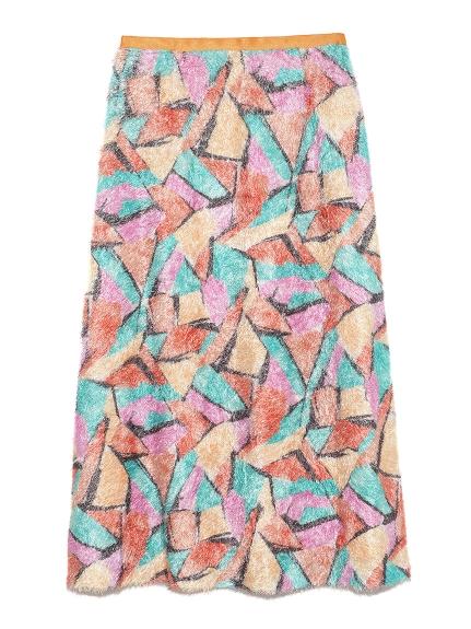 水彩風色塊毛絨長裙