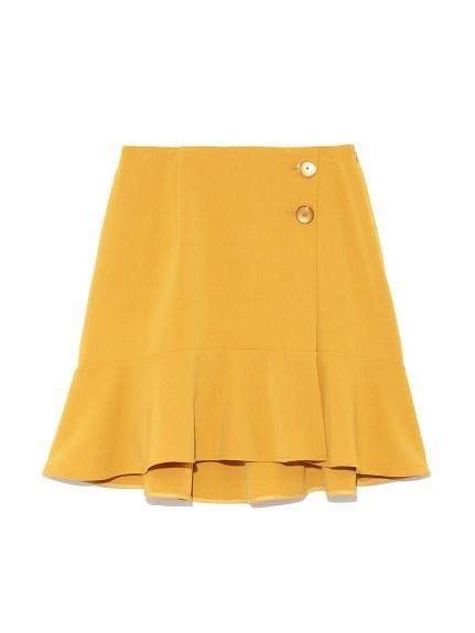 鈕扣荷葉剪裁短裙
