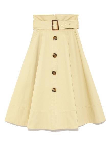 高腰排扣荷葉中長裙