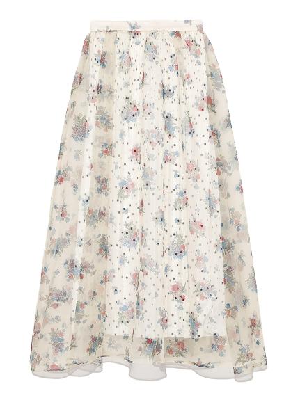 透光花卉圓點長裙