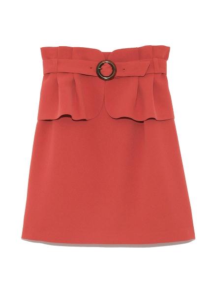 甜美荷葉邊腰袋造型短裙