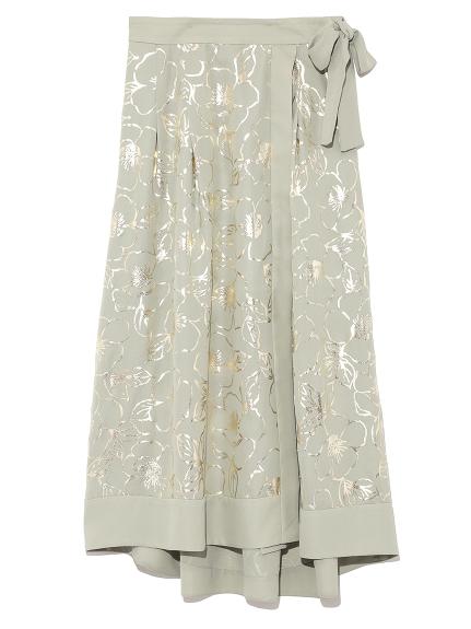 復古印花繫帶設計感長裙