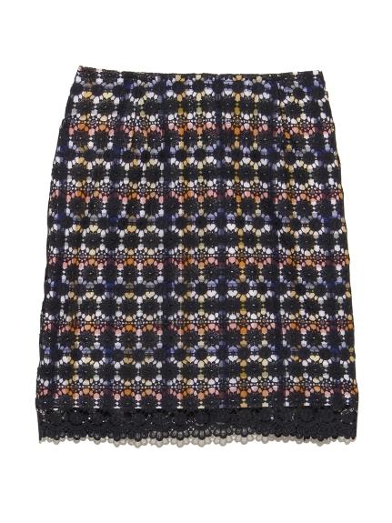 鉤花刺繡格紋短裙